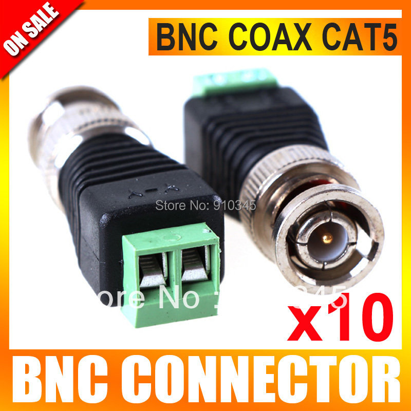 10Pcs/lot Mini Coax CAT5 To Camera CCTV BNC UTP Video Balun Connector Adapter BNC Plug For CCTV System(China (Mainland))