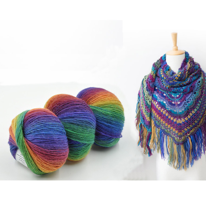 Wool Yarn For Hand Knitting Colorful Crochet Yarn Wool Type Fancy Yarn ...