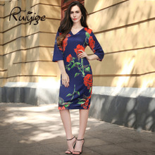 Buy RUIYIGE 2017 Summer Vintage Rose Print Dress Sexy V-neck Women Summer Dress Vestidos Bodycon Slim Pencil Dress Plus Size Dresses for $9.93 in AliExpress store