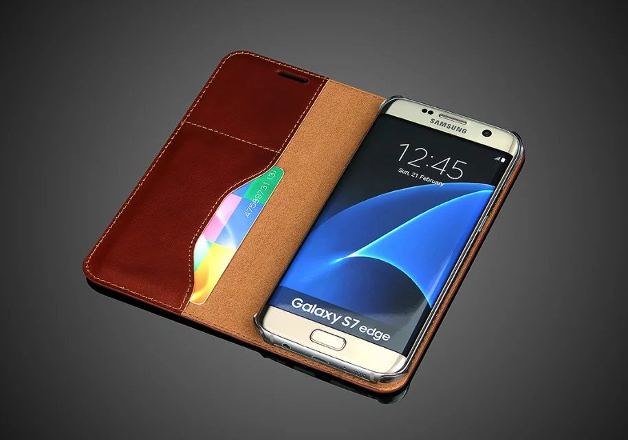 Phone Casing Case For Samsung Galaxy S7 Edge Duos G935F G935 G935FD 5.5'' With Stand Flip Cover Wallet Genuine Leather Bags Skin(China (Mainland))