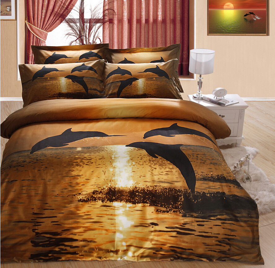 full size 100 cotton 4pcs of duvet cover bed sheet pillowcase mattress cover bed linens dusk. Black Bedroom Furniture Sets. Home Design Ideas