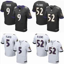 Men 2016 100% stitched logo Baltimore Ravens #9 Justin Tucker #5 Joe Flacco #57 C.J. Mosley #89 Smith_Sr Purple Black White,(China (Mainland))