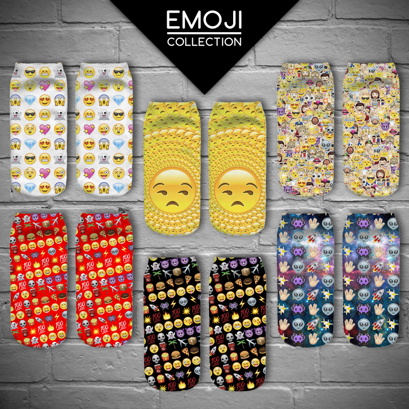 2015 New Summer Style Fashion Brand Women cute socks creative emoji emoticons 3D Printed Scoks