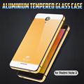xiaomi redmi 노트 2 최고 품질의 고급 알루미늄 금속 프레임 + 강화 유리 배터리 커버 케이스 xiaomi hongmi 노트 2