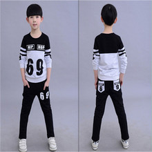 2015 new autunm/spring  babi boys baby clothing sets  children  sport suits  2 piece3-8 age kids  fashion clothing(China (Mainland))