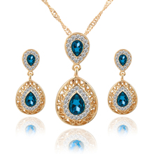 Classic Design Jewelry Sets Double Water Drop Crystal Earrings Necklaces Set For Women Engagement Party Jewelry Christmas Gift(China (Mainland))