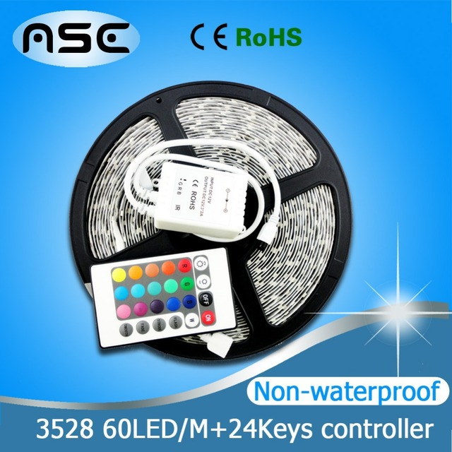 Best Striplight Non-waterproof 12V RGB 3528SMD 60LEDs/M LED Strip Flexible Light Tape 5M, only RGB with 24Keys Remote Controller