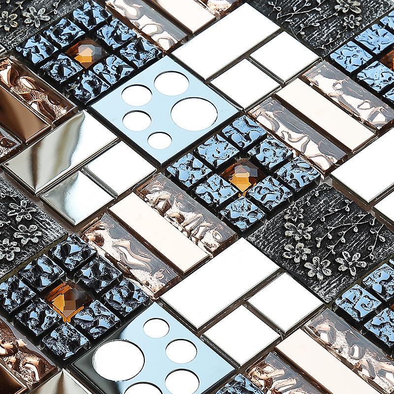 carved flower 3D symphony crystal glass mosaic tiles EHGM1019 for kitchen backsplash bathroom shower dining room wall mosaic(China (Mainland))