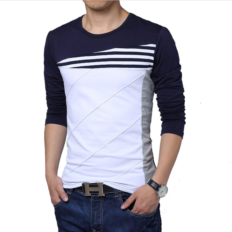 Splice Mens T Shirt Autumn Korean Plus Size Youth T Shirt