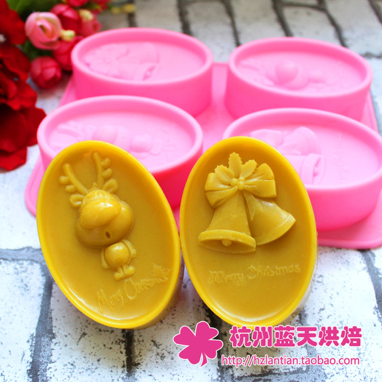 4C Silicone bell Christmas deer Cake Chocolate Soap Pudding Jelly Candy Ice Cookie Biscuit Mold Mould Pan Bakeware Wholesales(China (Mainland))