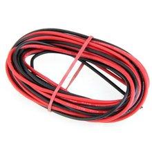 Promoción! 2 x 3 M 18 AWG del caucho de silicón del Cable de alambre rojo negro Flexible