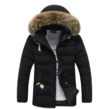 2015 Winter Men Cotton Padded Coats Khaki Casual Hooded Jackets Latest Thichen Fur Hooded Clothes,ZMX013