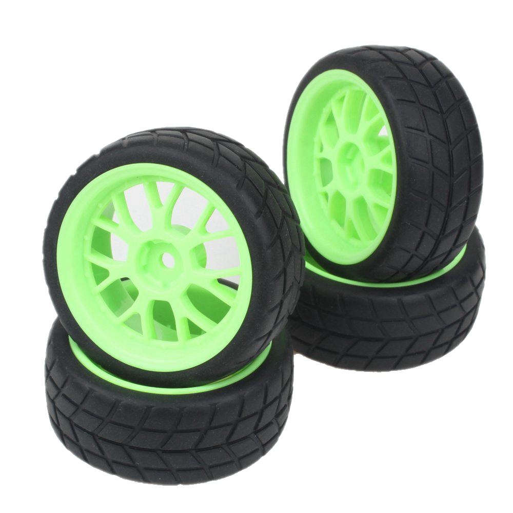 Green Y Shape Plastic Wheel Rim&Soft Leaf Tires Tyre for RC 1:10 On Road Car Pack of 4(China (Mainland))