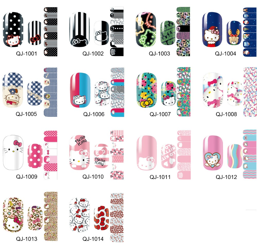 1 Sheet 3D Designs Cute DIY Cartoon Nail Tips Water Transfer K&T Nail Stickers Watermark Nail Decals Manicure Tools(China (Mainland))