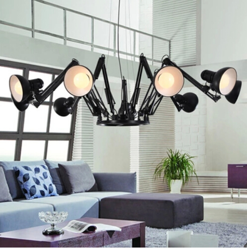6 heads Spider lamp living room office bedroom modern minimalist fashion personality led retractable iron pendant light(China (Mainland))