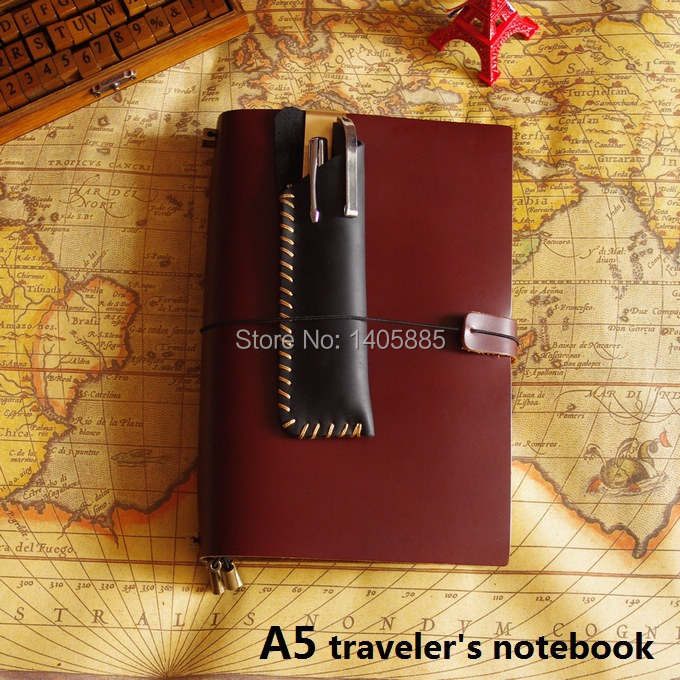 A5 Vintage Genuine Leather Traveler Notebook(wide) Cowhide diary loose leaf spiral notebook(China (Mainland))