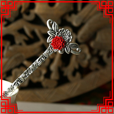 Ethnic jewelry fashion vintage hair accessories,thailand carved lacquerwear flower hair jewelry, ethnic hair stickers hairpins(China (Mainland))