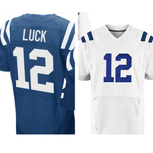 Mens #12 Andrew Luck Adult Blue White Elite Embroidery Logos and 100% Stitched Free shipping(China (Mainland))