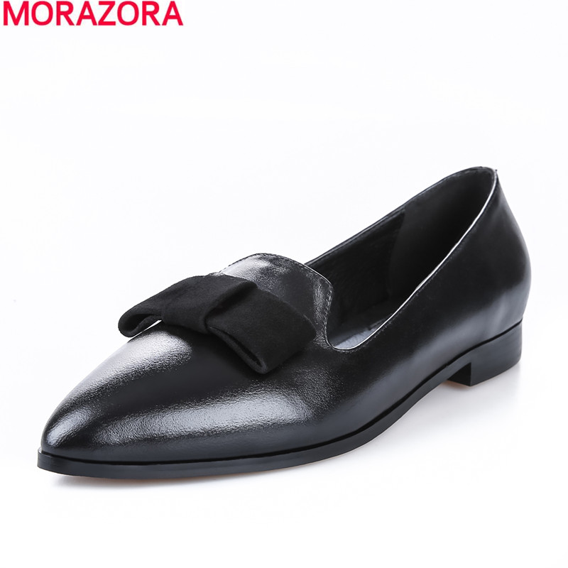 new arrival 2016 summer solid black genuine leather shoes woman high quality fashion bowtie pointed toe women flats<br><br>Aliexpress
