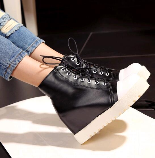 2016 New Fashion Women's Platform Wedge ankle Boots Female Winter Warm pctchwork lace up High Heels Boots Creepers bootie Shoes(China (Mainland))