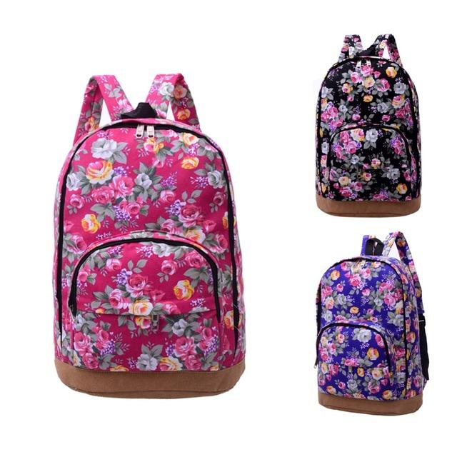 Классический Цветочный Печати Холст Рюкзак Женщины Школьный Туристические Рюкзаки для Женщин Девушки Школьные Компьютерные Сумки