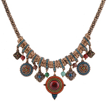 Vintage Bohemia Style Fashion Jewelry Gold Plated Round Shape Colorful Resin Stone&Beads Pendants Statement Necklace for Women