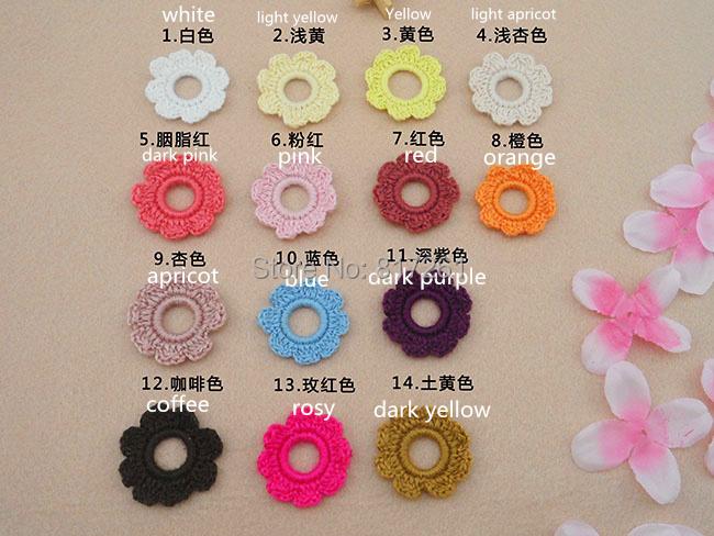 free shipping 4 cm Round 30 pics/lot cotton crocheted DIY headwear flowers hair decor hair ribbon for girl fashion head bands(China (Mainland))