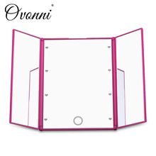 Ovonni Tri Fold Adjustable Led Lighted Travel Mirror 8 LEDs Touch Screen Make-up Mirror Compact Pocket Mirror for Beauty Makeup(China (Mainland))