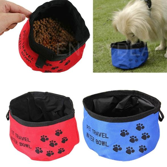 Brand New Pet Dog Cat Collapsible Foldable Bowl Water Food Feeder for Camping Travel(China (Mainland))