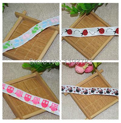 1 yard Ladybird owl rat footprints Pattern Printed Elastic Ribbon DIY baby headbands materials Cartoon FOE Ribbons(China (Mainland))