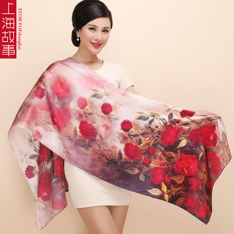 2016 Women 100% Mulberry Silk Scarf Shawl Spring Autumn Female Genuine Silk Scarves Long Printed Shawls Beach Cover-ups 172*55cm(China (Mainland))