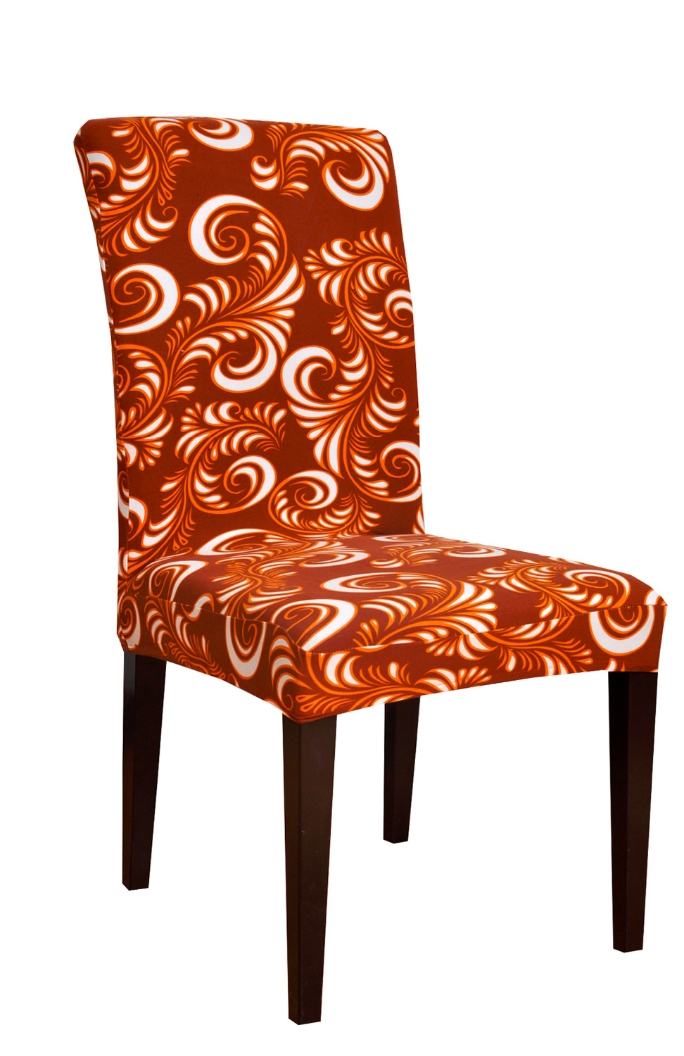 Dining room decorate stretch printed fabric chair covers for Fabric dining room chairs