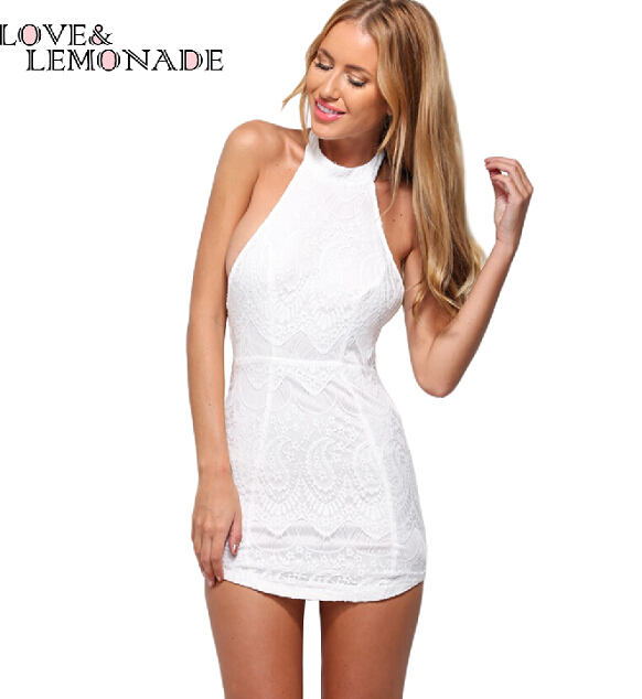 High-Necked White Lace Halter Dress TB 7701(China (Mainland))