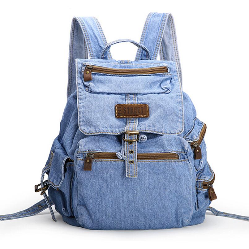 Buy Womens fashion Backpack Casual Travel backpacks canvas school bags vintage denim bag women ...