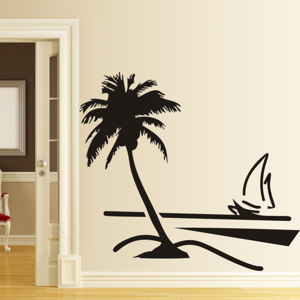 8499 coconut palm tree beach sailboat pvc wall sticker for Beach wall mural sticker