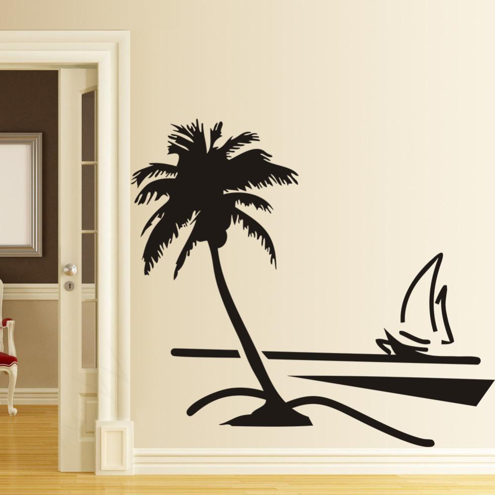 8499 coconut palm tree beach sailboat pvc wall sticker for Beach wall mural sticker