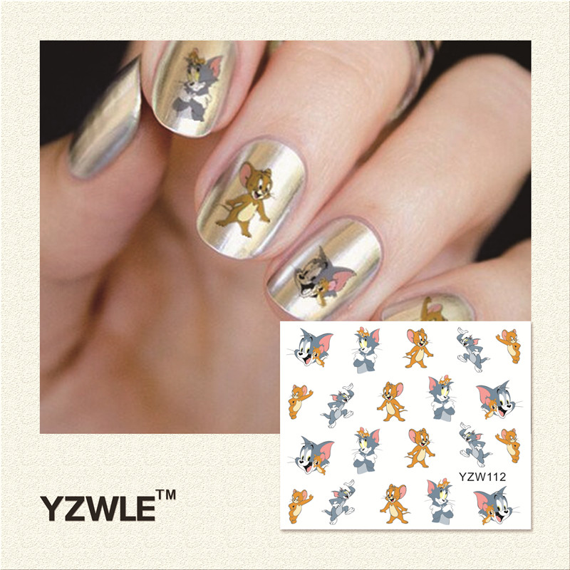 YZWLE 1 Piece Hot Sale Water Transfer Nails Art Sticker Manicure Decor Tool Cover Nail Wrap Decal (YZW112)(China (Mainland))