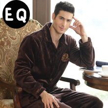 Winter Male Thickening Flannel Lounge Long-sleeve Coral Fleece Sleepwear(China (Mainland))