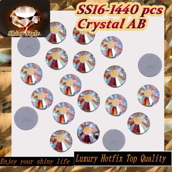 China NO. 1 Quality REAL 5A SS16 3.8-4.0mm Iron On Crystal AB Flatback Hotfix Rhinestones For Weeding Dresses(China (Mainland))