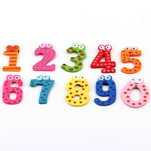 1set X mas Gift Set 10 Number Wooden Fridge Magnet Education Learn Cute Kid Baby Toy