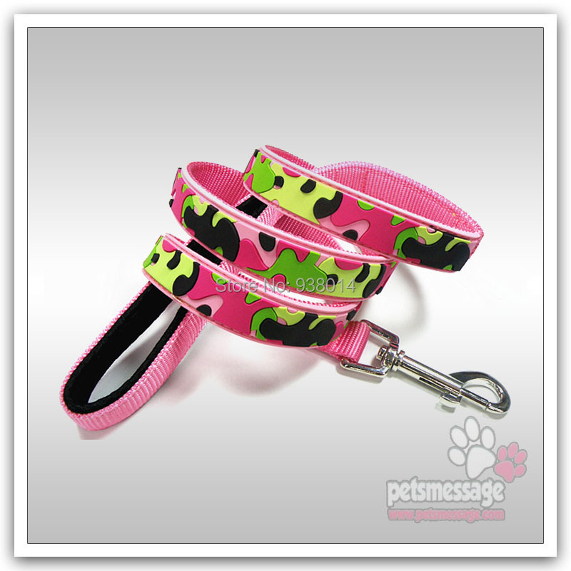 Pet Dog Lead PVC Leather Cat Collar Leash Camouflage Pattern Fashion Design - ok Store store
