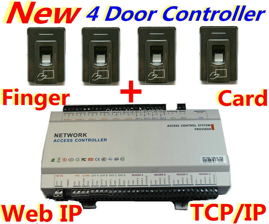2015 Year New Version 4 Door Access Controller Panel Board Box + 4 pcs Fingerprint/ID Card Reader+Web IP Control+TCP/IP software(China (Mainland))
