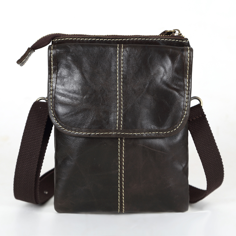 Maxdo Promotion Dark Coffee Vintage Real Genuine Leather Small Men Messenger Bags Mini Mobile Phone Bag Cigarette Bag #M009(China (Mainland))