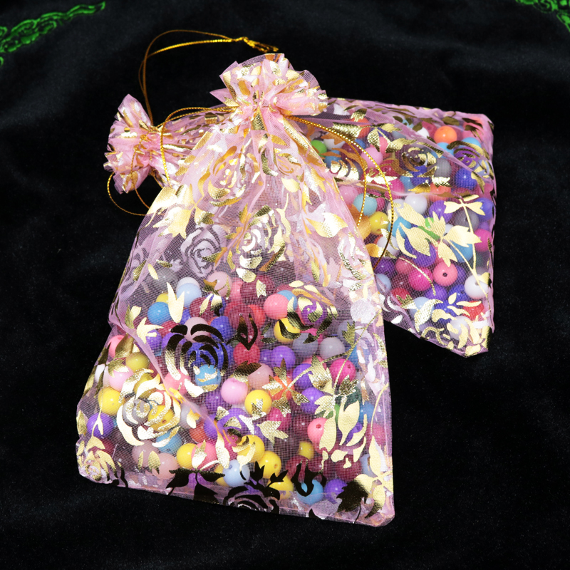 11x16cm Organza Bags Hot Stamping Rose pink Bronzing Organza Gift Bags For Jewelry Promotional Gifts Customized Logo Bag 200pcs(China (Mainland))