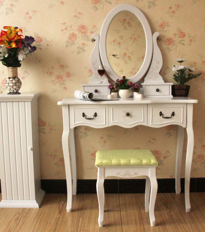 Queen Anne White Make Up Table Dresser Vanity Set Swivel Oval Mirror with Stool Wood Dresser With Vanity Table(China (Mainland))