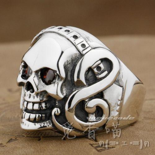 Classic Vintage Titanium Mens Fashion Cool Rock Punk Gethic Ring music men guitar skull(China (Mainland))