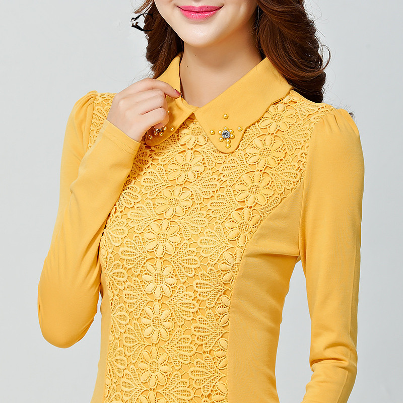 2014 autumn plus size shirt female lace Crochet long-sleeve all-match top slim beading embroidery blouses size:M-3XL(China (Mainland))