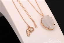 Leaf Designer Semi Precious Opal Stone Charm Party Necklace pendants 18K Rose Gold Plated Wedding Jewelry