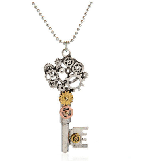 Retro steampunk key Gears Pattern Long bead chain necklace punk jewelry with card collares Men Women summer style(China (Mainland))