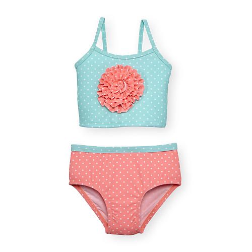 0-3Y Koala Baby Girls 2 Piece Aqua/Orange Polka Dot Rosette Tankini set ruffles flower zeemeermin zwempak badmode kids banadores(China (Mainland))